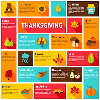 Concepto de infografía de acción de gracias. ilustración de vector. iconos de vacaciones de otoño.