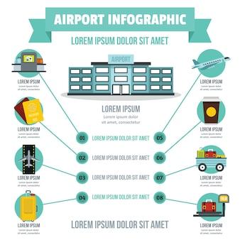 Concepto de infografía aeropuerto, estilo plano.