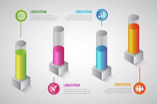 Concepto de infografía de barras 3d