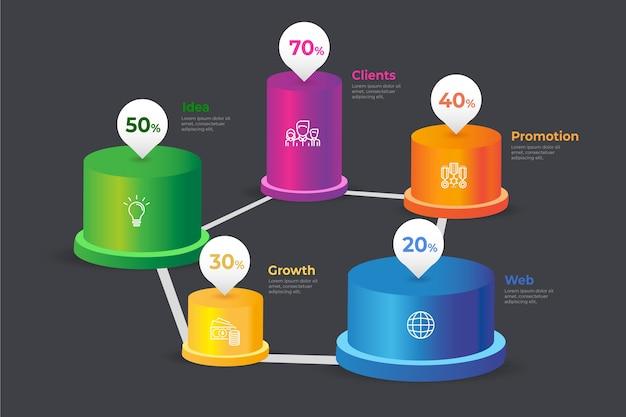 Concepto de infografía barras 3d