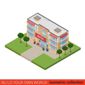 Concepto de infografía de bloque de construcción de hotel isométrico plano viajes vacaciones viaje turismo casa de huéspedes y equipaje construya su propia colección mundial de infografías