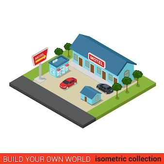 Concepto de infografía de bloque de construcción de motel plano isométrico viajes vacaciones viaje por carretera turismo casa de huéspedes y lugar de estacionamiento construya su propia colección mundial de infografías