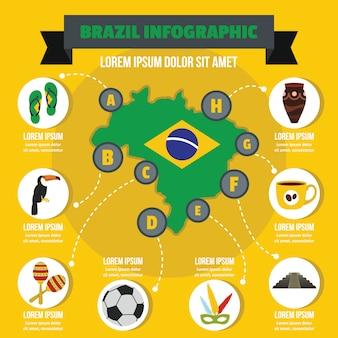Concepto de infografía de brasil, estilo plano