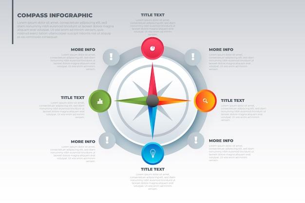 Concepto de infografía de brújula degradado