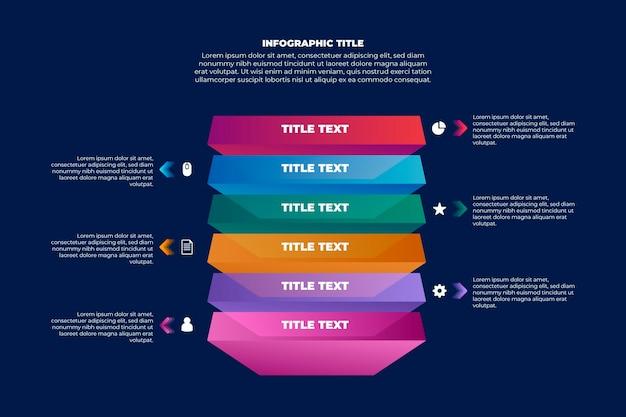 Concepto de infografía de capas de bloque 3d