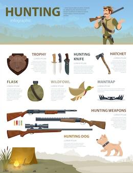 Concepto de infografía de caza colorido