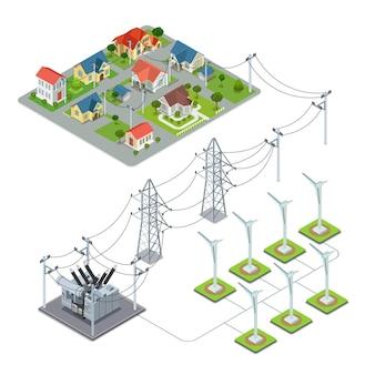 Concepto de infografía de ciclo de suministro de energía de pueblo verde de hélice de energía eólica.