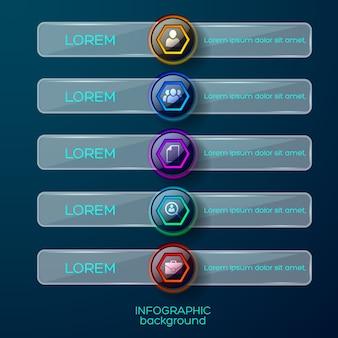 Concepto de infografía con cinco elementos de menú brillante horizontales aislados coloridos iconos de pictogramas de negocios con texto