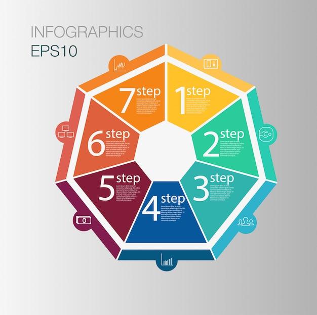 Concepto de infografía círculo empresarial. elementos circulares para infografía. plantilla infografía 7 posición, pasos.