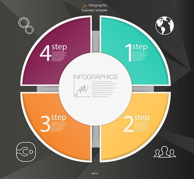 Concepto de infografía de círculo empresarial. elementos circulares para infografía.
