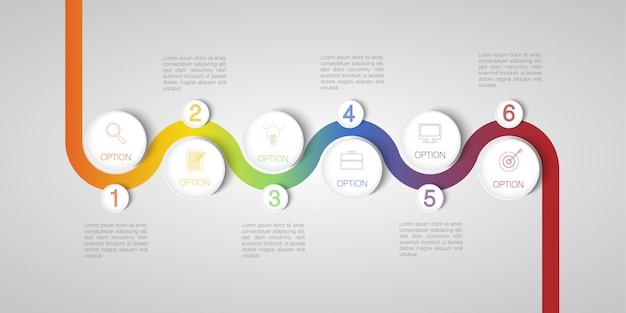 Concepto de infografía círculo moderno con cinco círculos y cuadros de texto