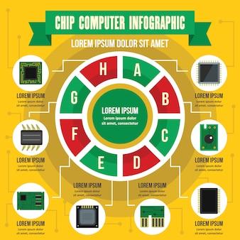 Concepto de infografía de computadora chip, estilo plano