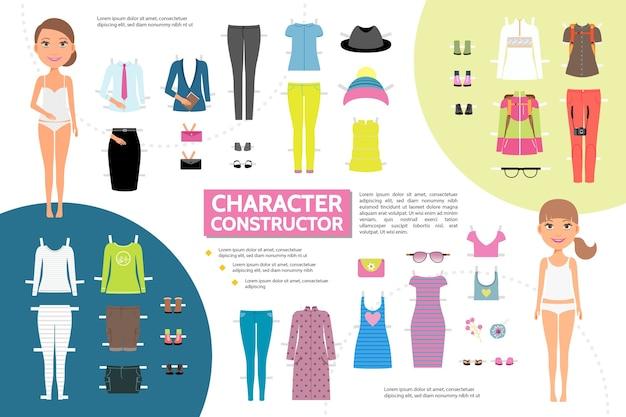 Concepto de infografía de creación de personaje de mujer plana