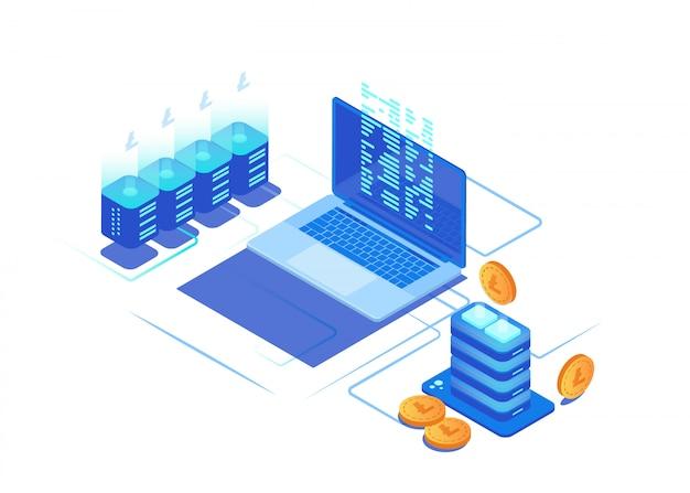 Concepto de infografía cryptocurrency minería.