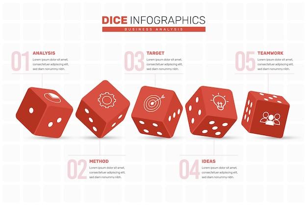 Concepto de infografía dados
