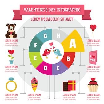Concepto de infografía del día de san valentín, estilo plano