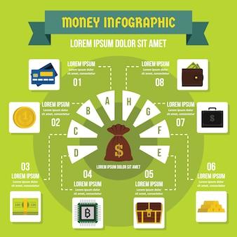 Concepto de infografía de dinero, estilo plano