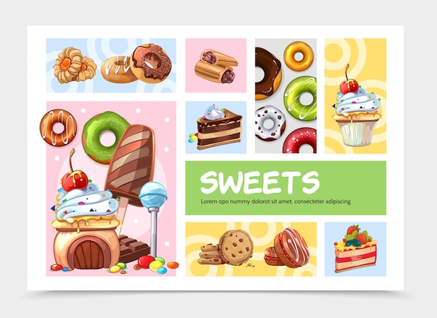 Concepto de infografía de dulces de dibujos animados