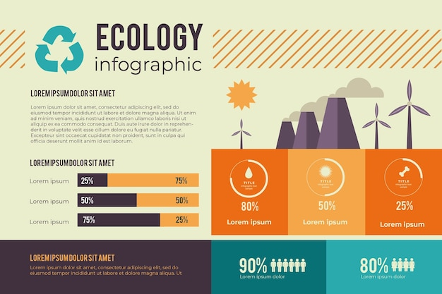 Concepto de infografía para ecología en colores retro.