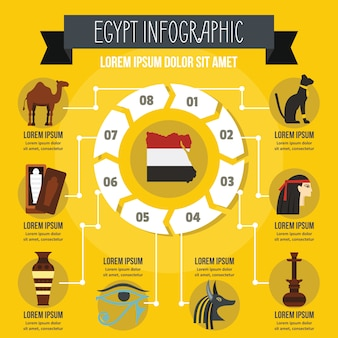 Concepto de infografía de egipto, estilo plano