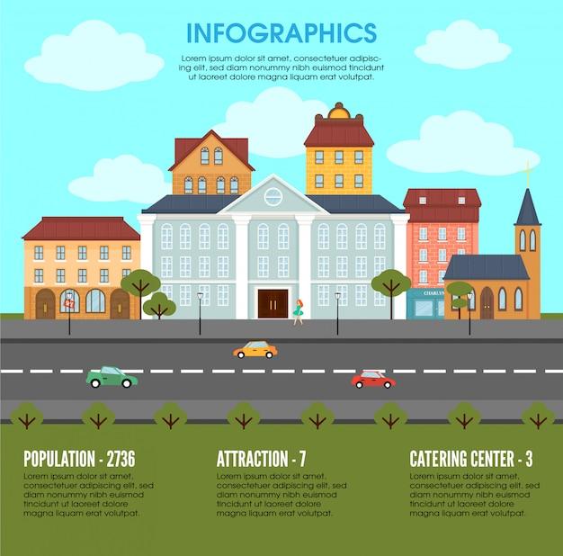 Concepto de infografía de elementos de paisaje de ciudad vieja