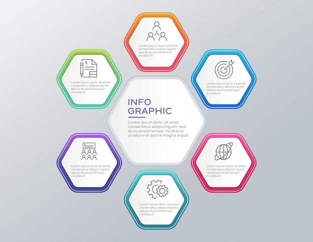 Concepto de infografía empresarial con 6 opciones.