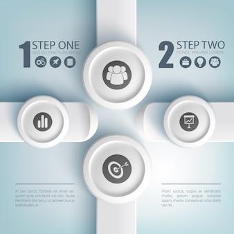 Concepto de infografía empresarial abstracto con texto dos iconos de opciones en rectángulos y botones redondos grises