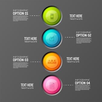 Concepto de infografía empresarial con cuatro botones redondos de diferente color con siluetas de pictogramas y leyendas de texto editables
