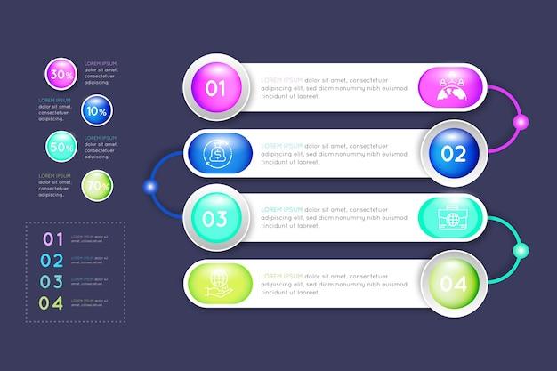 Concepto de infografía empresarial degradado