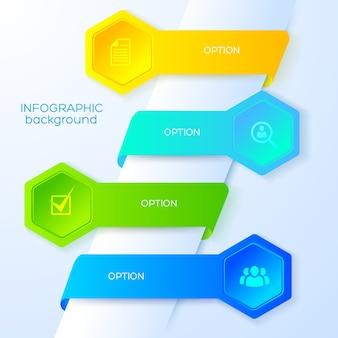 Concepto de infografía empresarial con iconos cuatro cintas de colores y hexágonos