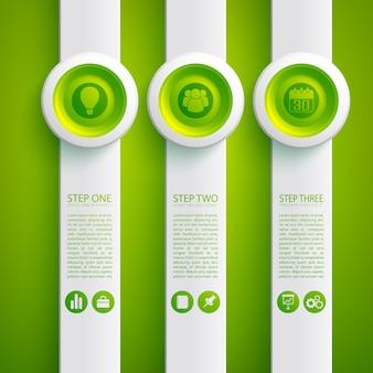 Concepto de infografía empresarial con iconos de tres formas verticales grises y botones redondos