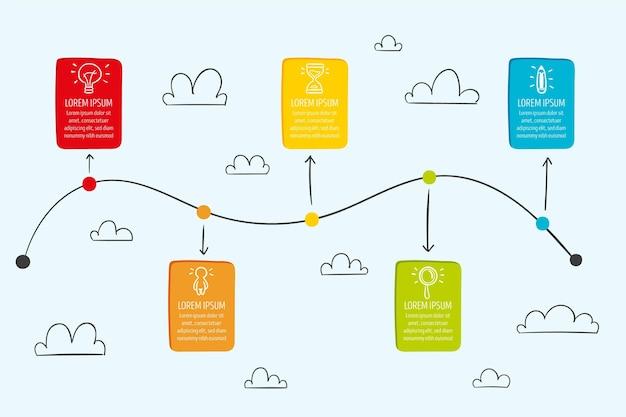 Concepto de infografía empresarial línea de tiempo
