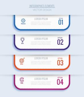 Concepto de infografía empresarial moderno con cuatro pasos