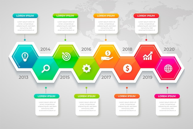 Concepto de infografía empresarial con progreso