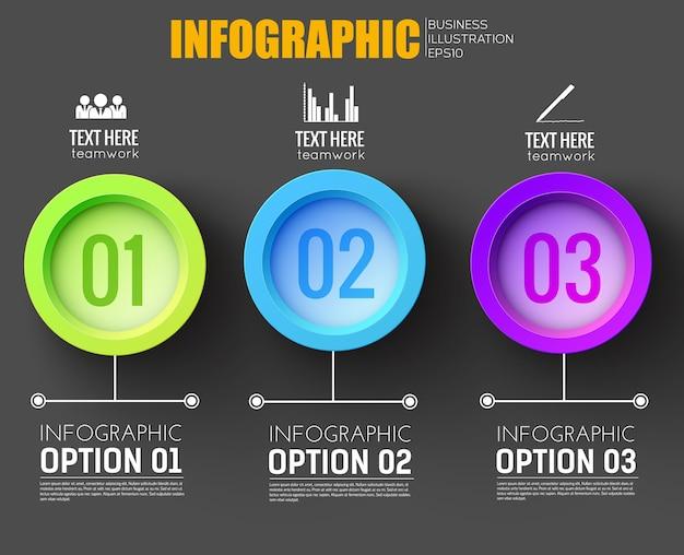 Concepto de infografía empresarial para la red con tres botones redondos multicolores