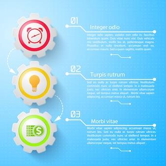 Concepto de infografía empresarial con texto engranajes mecánicos iconos coloridos tres opciones en ilustración azul claro