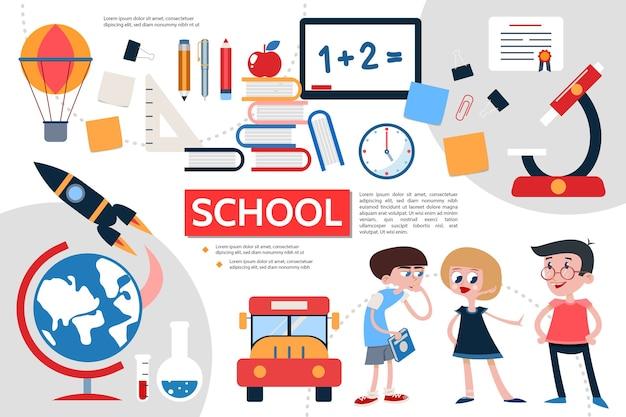 Concepto de infografía de escuela plana