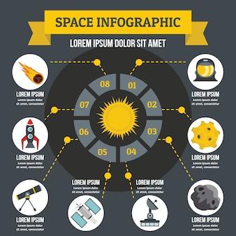 Concepto de infografía del espacio.
