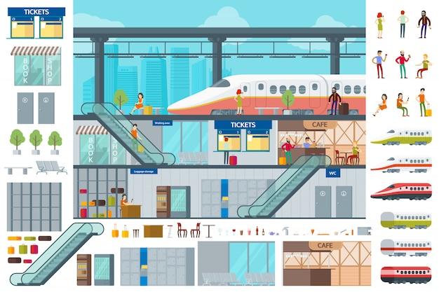 Concepto de infografía de estación de tren plano