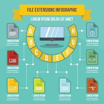 Concepto de infografía de extensiones de archivo, estilo plano