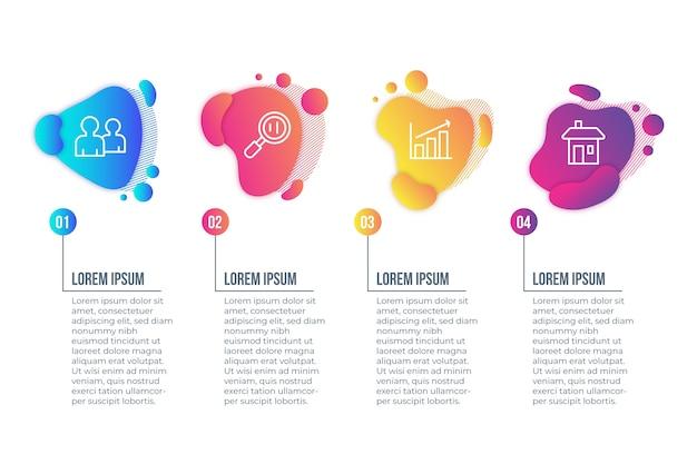 Concepto de infografía de forma abstracta gradiente