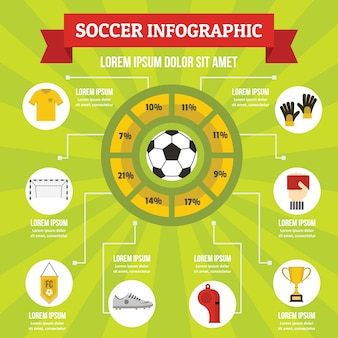 Concepto de infografía de fútbol, estilo plano
