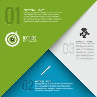 Concepto de infografía geométrica con gráfico de texto de tres opciones