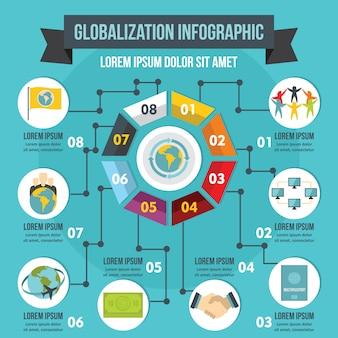 Concepto de infografía globalización, estilo plano.