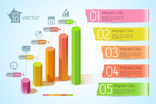 Concepto de infografía de gráficos de negocios con coloridas columnas hexagonales 3d cinco banderas de cinta de texto e iconos ilustración