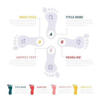 Concepto de infografía de huella plana