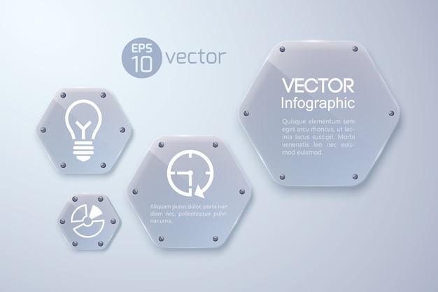 Concepto de infografía con iconos blancos y hexágonos de cristal