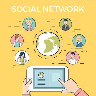 Concepto de infografía de ilustración de vector de red de medios sociales global de diseño lineal de estilo plano