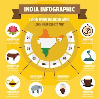 Concepto de infografía de la india, estilo plano