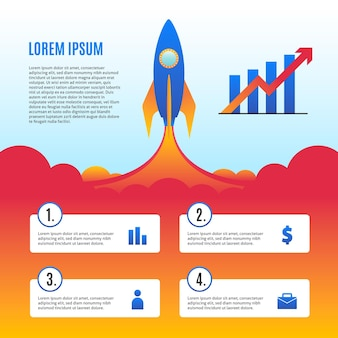 Concepto de infografía de inicio